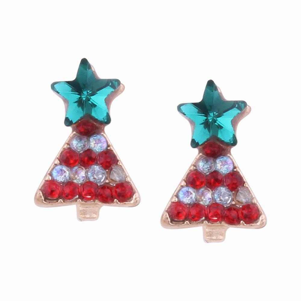 Fashion Design Creative Multicolor Christmas Tree Stud Earrings with Diamond Charm Jewelry 237448701