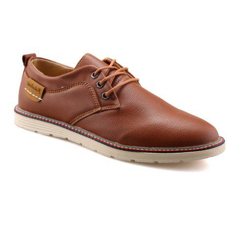 Store Solid Casual Lace Up Soft Leather Shoes