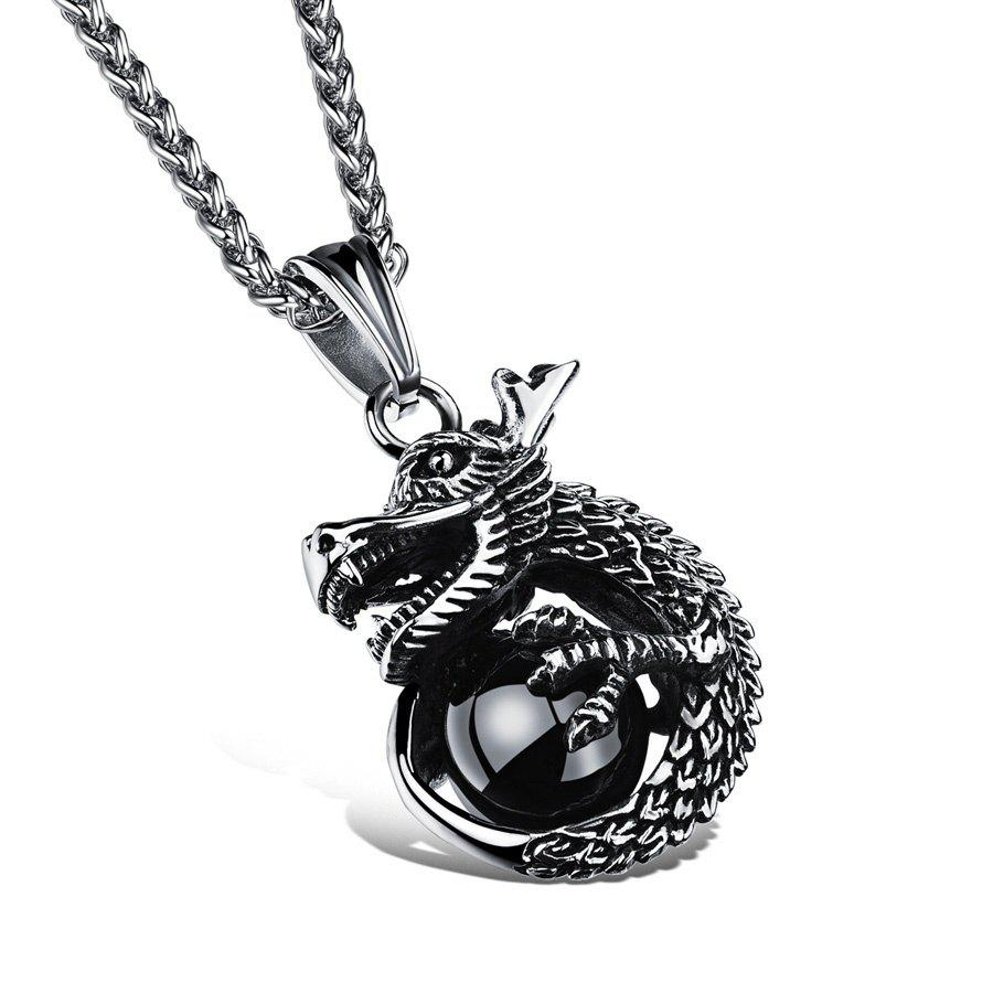 Outfit Vintage Silver Charm Dragon Design Pendant Necklace For Man Rock 316L Stainless Steel Men's Jewelry Link Chain Chakra A0188
