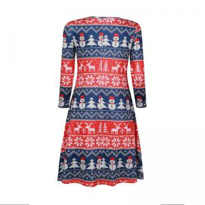 Christmas Snowflake Printed O-Neck Seven -Minute Sleeve Dress -