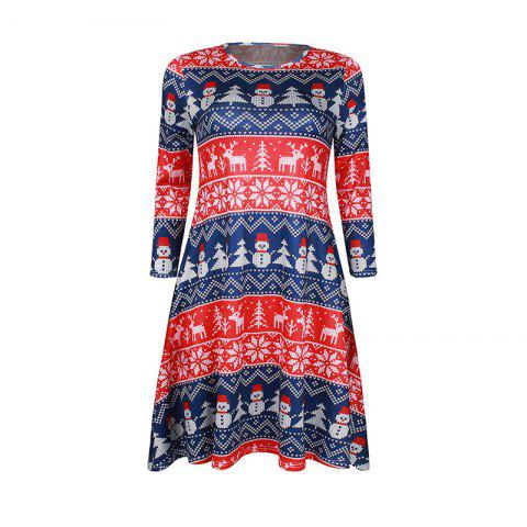 New Christmas Snowflake Printed O-Neck Seven -Minute Sleeve Dress