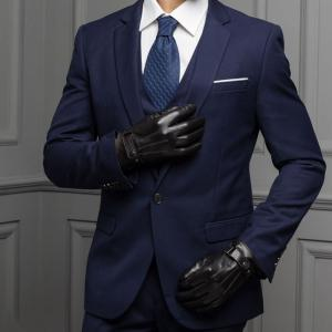 Winter Male PU Leather Short  Thick  Gloves Man Car Driving Mittens -
