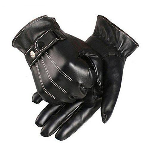 Latest Winter Male PU Leather Short Thick Gloves Men Car Driving Mittens