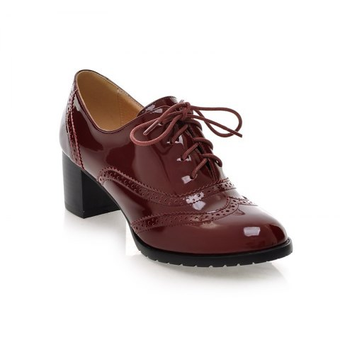 Fashion Women Round Toe Chunky Heel Patent Leather Oxfords Shoes
