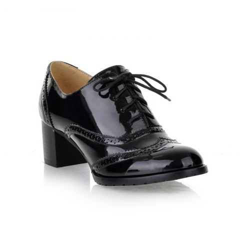Shop Women Round Toe Chunky Heel Patent Leather Oxfords Shoes