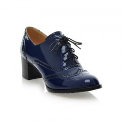Women Round Toe Chunky Heel Patent Leather Oxfords Shoes -