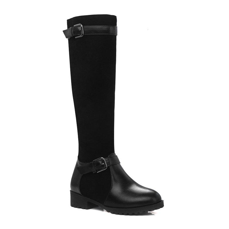 Sale Women's Shoes Leatherette Winter Riding Fashion Round Toe Knee High Boots Buckle