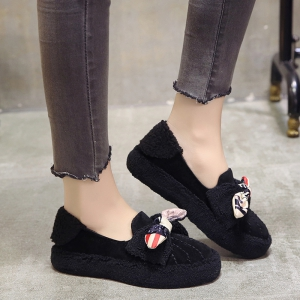 Women Autumn Winter Fashion Casual Warm Thick Soft Comfortable Roman Flat Loafer Shoes -