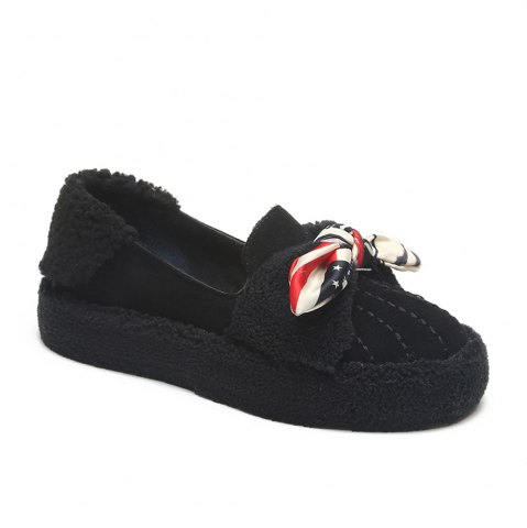 Online Women Autumn Winter Fashion Casual Warm Thick Soft Comfortable Roman Flat Loafer Shoes
