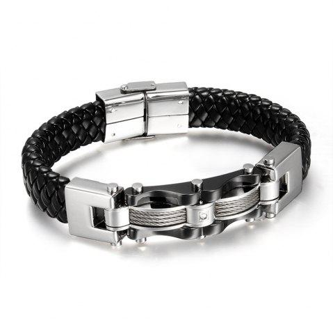 New Delicate Hand-woven Jewelry Titanium Steel Leather Men's Bracelet