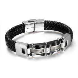 Delicate Hand-woven Jewelry Titanium Steel Leather Men's Bracelet -