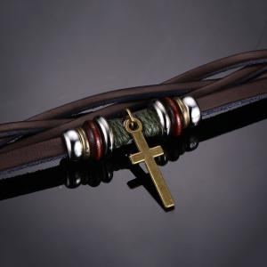 Braided Popular Jewelry Leather Alloy Punk Cross Bracelet -