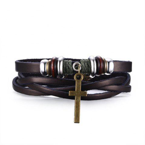 Discount Braided Popular Jewelry Leather Alloy Punk Cross Bracelet