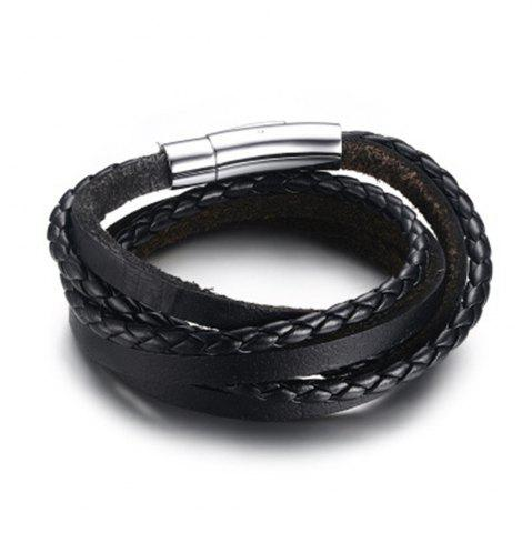 Outfit Men Silicone Gift Stainless Steel Three Laps Leather Rope Bracelet