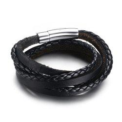 Men Silicone Gift Stainless Steel Three Laps Leather Rope Bracelet -