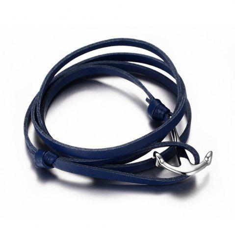 Discount Men and Women Bracelet Leather Stainless Steel Anchor Fashion Trend Multi-layer Jewelry