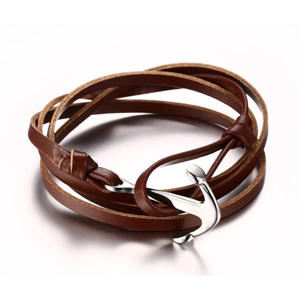 Fancy Men and Women Bracelet Leather Stainless Steel Anchor Fashion Trend Multi-layer Jewelry