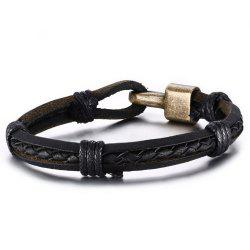 Simple Big Punk Jewelry Men's Leather Braided Bracelet -