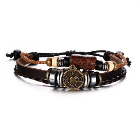 Outfits Men's Popular Accessories Bracelet Quality Alloy Copper Coins Leather Accessories