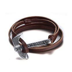 Stainless Steel Adjustable Panel Ax Handmade Leather Men's Fashion Bracelet -