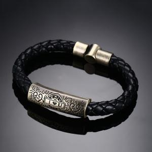 Trend Alloy Material PU Love Hand Rope Men Bracelet Jewelry -