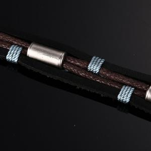 Leather Fashion Men's Leather Braided Metal Buckle Bracelet -