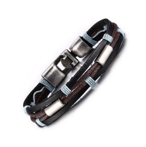 Store Leather Fashion Men's Leather Braided Metal Buckle Bracelet