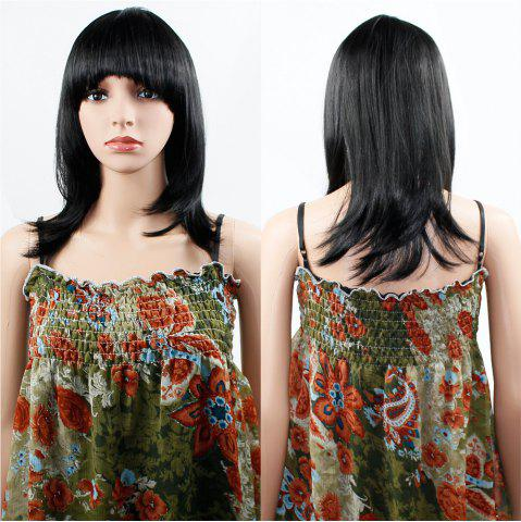 Affordable Human Hair Wig Womens Straight with Flat Bangs Synthetic Colorful Cosplay Daily Party for Women Natural Black 14 inch