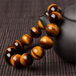 JAMOUR Men's Fashion Natural Tiger's Eye Bead Bracelet -