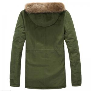 Men's Fleece Long Parka Coat Cotton Pure Long Sleeve Coat -