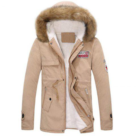 New Men's Fleece Long Parka Coat Cotton Pure Long Sleeve Coat