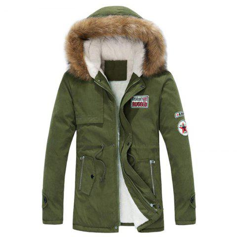 Shop Men's Fleece Long Parka Coat Cotton Pure Long Sleeve Coat