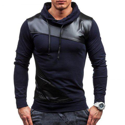 Chic Men's Sports Casua  Hoodie Patchwork  Cotton Blend Long Sleeve