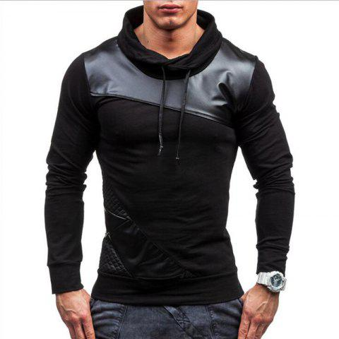 Unique Men's Sports Casua  Hoodie Patchwork  Cotton Blend Long Sleeve