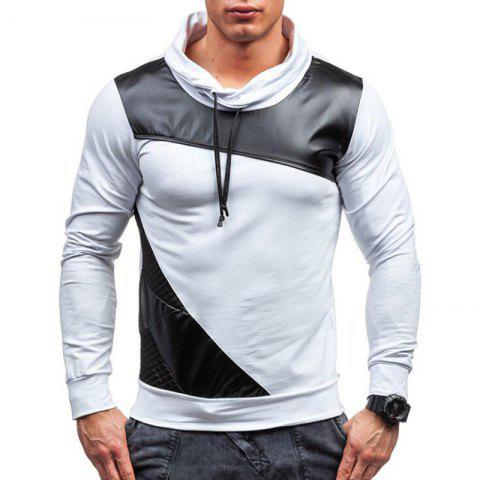 Online Men's Sports Casua  Hoodie Patchwork  Cotton Blend Long Sleeve