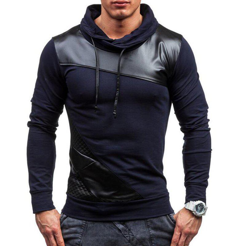 Best Men's Sports Casual Hoodie Patchwork Cotton Blend Long Sleeve