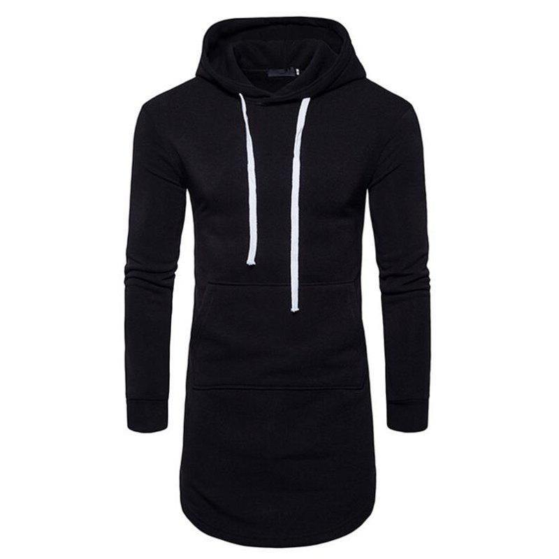 Chic Men's Casual Hoodie Pocket Solid Long Sleeve