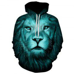 Men's Casual 3D Print Hoodie Lion Print Sweatshirt -