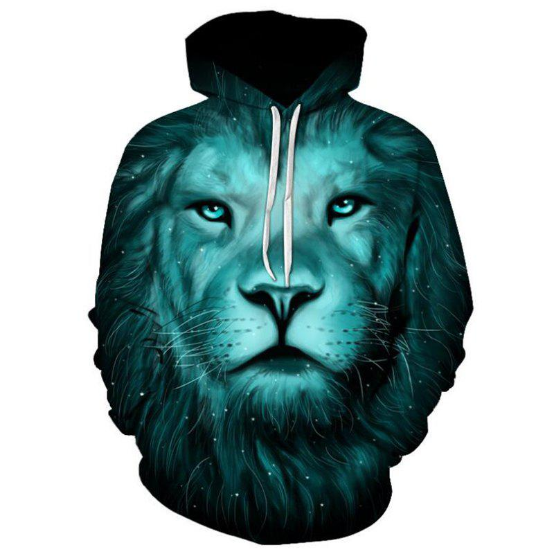 Sale Men's Casual 3D Print Hoodie Lion Print Sweatshirt