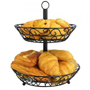 2 Tier Countertop Fruit Basket Holder Decorative Bowl Stand Fruits Vegetables Snacks Household Item -