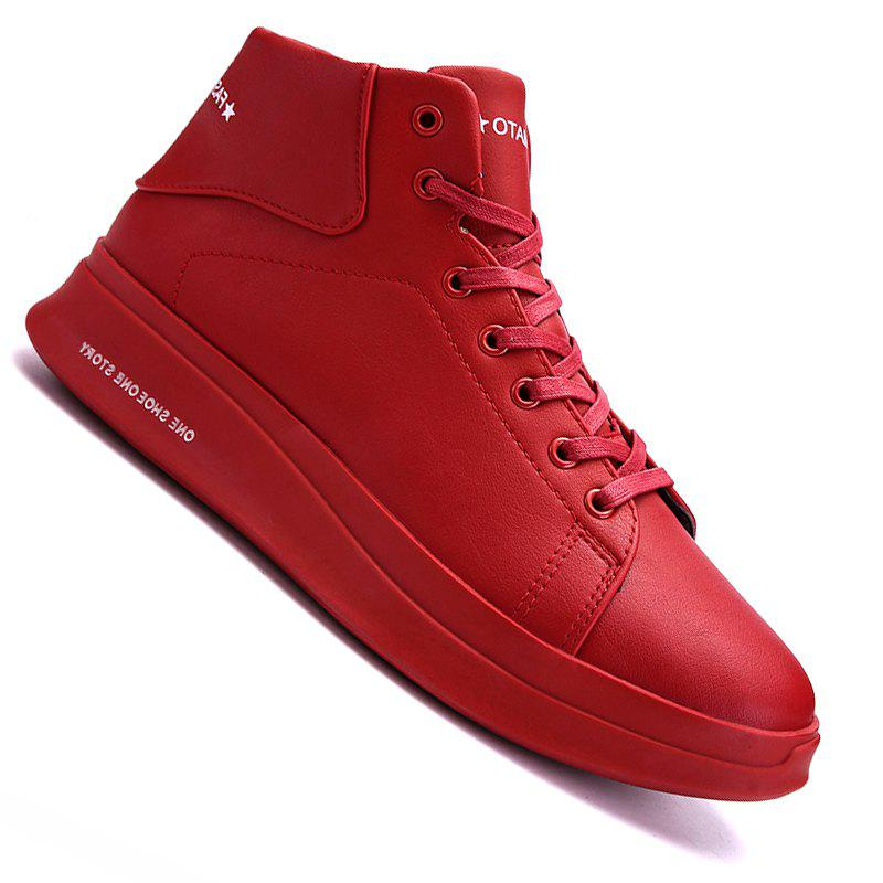 Shop Men Casual New Trend for Fashion Outdoor Lace Up Rubber Flat Leather Boots