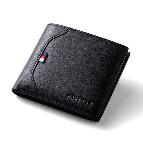 Trendy Hautton Slim Bifold Wallet for Men Trifold Leather Credit Card Holder