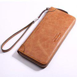 HAUT TON Men's Vintage Leather Clutch Bag Handbag Organizer Checkbook Wallet -