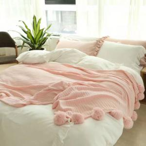 Pure Cotton Fancy Ball Decorative Knitted Blanket -