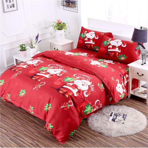 Unique 3D Cartoon Bedding Sets Merry Christmas Gift Santa Claus Bedclothes Duvet Quilt Cover Bed Sheet 2 Pillowcases