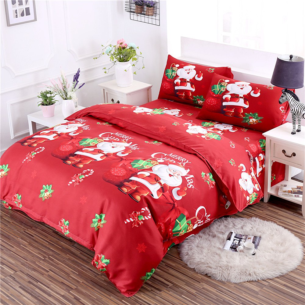 Shops 3D Cartoon Bedding Sets Merry Christmas Gift Santa Claus Bedclothes Duvet Quilt Cover Bed Sheet 2 Pillowcases