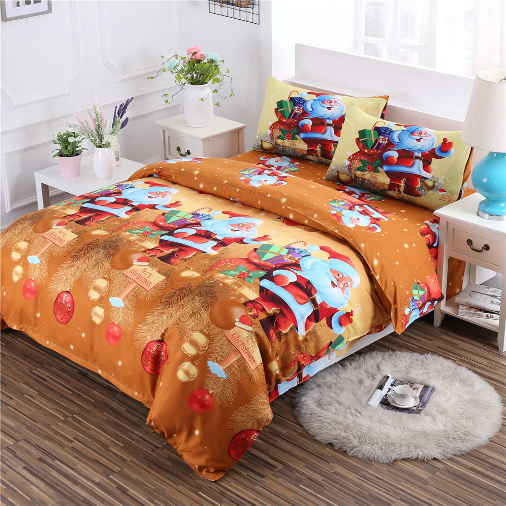 Buy 3D Merry Christmas Gift Santa Claus Deep Pocket Bedclothes Cover Bed Sheet Pillowcases