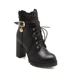 Back Zipper with Lace and Heel Boots -