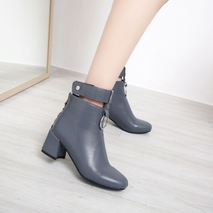 Square Thick with Metal Ring Boots Fashion Decoration -