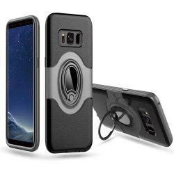 Hybrid Slim TPU Bumper Protective  with 360 Degree Rotating Metal Ring Holder Kickstand Case for Samsung Galaxy S8 Plus -